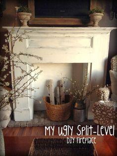 My Ugly Split-level: Living Room Update DIY fireplace