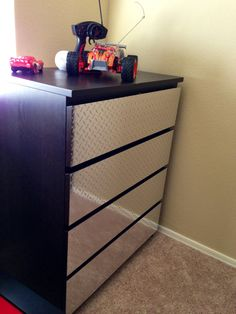 Diamond Plate Vinyl Covered Drawers For My Sons Dresser.