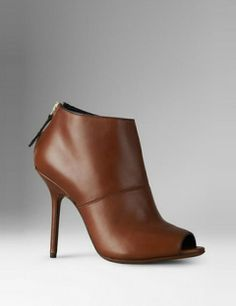 BURBERRY Peep Toe Leather Ankle Boots