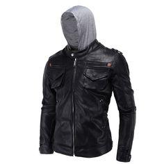 Hooded Pu Leather Jacket Blacks Men's Jacket Coat L XL 2XL 3XL 4XL Fashion Slim Leather Jacket Men High Quality Jaqueta De Couro