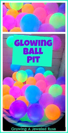 A GLOWING Ball pit for kids-  so FUN!