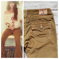"""True Religion hippie corduroy pant Camel colored corduroy bell bottoms with twisted stitching to add detail. Flap back pockets with top stitched logo. Perfect condition. Size 29, 16"""" waist, 8"""" front rise, 30.5"""" inseam. True Religion Pants"""