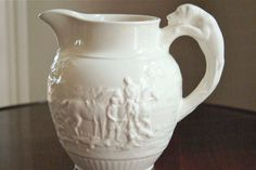 Wedgwood Creamware Pitcher with Hunting Scene and Leaping Dog Handle, Collectible China, Large Size, English Home Decor