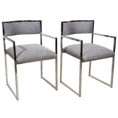 Pair of Chrome Metal Arm Chairs by Willy Rizzo | From a unique collection of antique and modern armchairs at https://www.1stdibs.com/furniture/seating/armchairs/