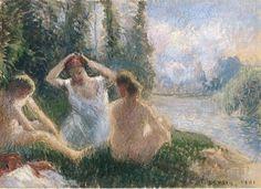 Camille Pissarro (1831-1903) Baigneuses Assises Au Bord d'Une Riviere 1901 (19,5 x 26 cm)