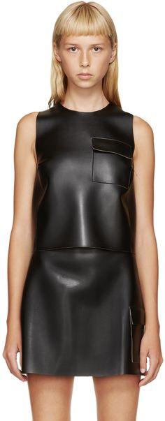 MSGM Black Leather Crop Top