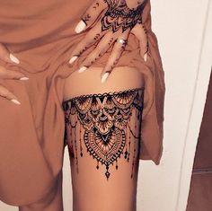 Oberschenkel Tattoo Frauen - - tattoo tattoo tattoo calf tattoo ideas tattoo men calves tattoo thigh leg tattoo for men on leg leg tattoo Lace Thigh Tattoos, Hand Tattoos For Women, Tattoo Thigh, Lace Garter Tattoos, Thigh Henna, Mandala Thigh Tattoo, Back Of Thigh Tattoo Women, Women Thigh Tattoos, Mandala Tattoo Sleeve Women