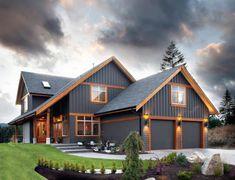 Home Exterior color scheme (blue siding, wood trim, wood fascia House Siding, House Paint Exterior, Dream House Exterior, Exterior House Colors, Barn House Plans, Dream House Plans, Rustic House Plans, Metal Building Homes, Building A House