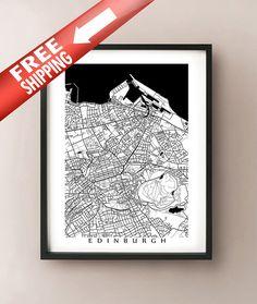 Edinburgh Map Print - Black and White - Scotland poster  8x10 $28.39, 16x20 $85.18