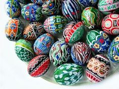 Pysanky are the Ukrainian craft of decorated eggs, dating back to ancient times when the Ukrainians believed that great powers were embodied in the egg. - from the Hungarian Girl blog