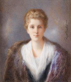 Rudolf Sternad (1880-1944) Bildnis einer Dame mit gewelltem Haar und schwarzem Spitzenumhang, 1924