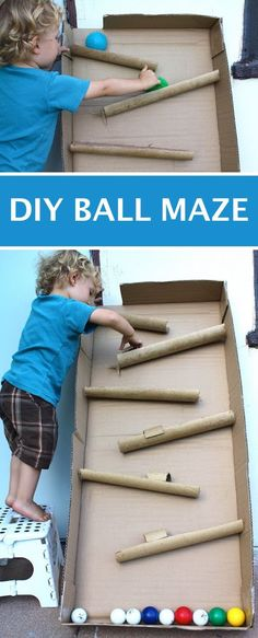 DIY ball maze using cardboard! This is a super fun project for toddlers. -- Easy DIY craft ideas for adults for the home, for fun, for gifts, to sell and more! Some of these would be perfect for Christmas or other holidays. A lot of awesome projects here! Listotic.com