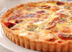 Tarte au thon tomate et moutarde au thermomix Pizza Recipes, Low Carb Recipes, Tomato Quiche, Food Carving, Batch Cooking, Vegan Breakfast Recipes, Cherry Tomatoes, Food And Drink, Tasty