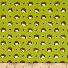 Michael Miller Fox Woods Hedgehog Heaven Lime from @fabricdotcom  From Michael Miller, this nature-inspired collection is perfect quilts, home décor accents, craft projects and apparel. Colors include lime green, brown, white, red, pink and black.