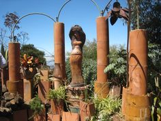 Upcycled Garden Art | EarthCraft with terracotta clay pipes