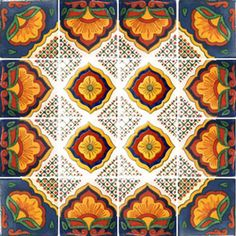 Mexican Tile in Navy Gold and Maroon
