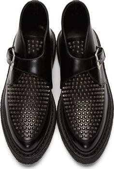 Saint Laurent Black Leather Studded Creepers