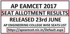 AP EAMCET 2017 Seat Allotment Results College Wise
