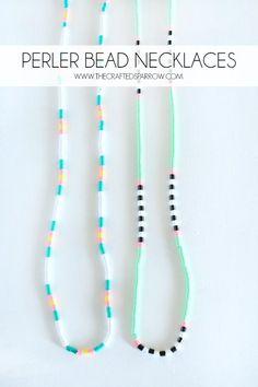 Chevron Perler Bead Necklaces - thecraftedsparrow.com