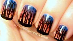 VIDEO: Ombre Sunset Forest Nail Art tutorial.