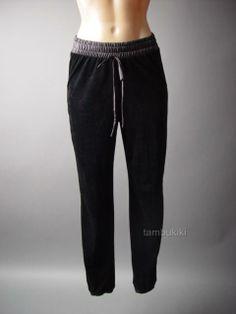 Black Corduroy Cords Faux Leather Urban Casual Women Sweat Track Pants / sporty chic / street style / off-duty / Tambukiki Ebay