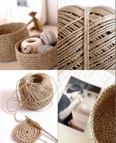 Hottest Free Crochet basket twine Ideas Great use to get rid of all my hemp. Crochet Shoes Pattern, Crochet Basket Pattern, Crochet Patterns, Crochet Diy, Crochet Home Decor, Crochet Storage, Crochet Rope, Basket Weave Crochet, Basket Weaving