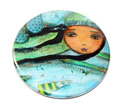 Winter Fairy   Pocket Mirror Original Art by Flor by FlorLarios, $8.00