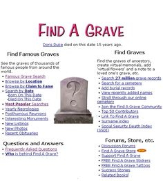 A Grave: Search 27 Million Cemetery Records Wonderful free website for grave research. Over 90 Millions grave records!Wonderful free website for grave research. Over 90 Millions grave records! Free Genealogy Sites, Genealogy Search, Family Genealogy, Genealogy Forms, Genealogy Organization, Organizing, Family Tree Research, My Family History, Family Roots