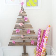A colourful Christmas. Handmade wooden trees available from The Eye Spy Milk Bar