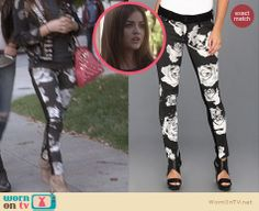 Aria's black and white floral jeans on Pretty Little Liars. Outfit Details: http://wornontv.net/26387 #PLL #fashion