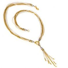 Gurhan Designer Multi Strand Pearl Gold Tassel Necklace  #designer #tasselnecklace #necklace #goldnecklace #consignment