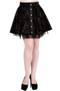 Banned Gothic Rose Skirt Satin with Velvet Flocked Crosses and Skeleton Lady