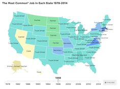 The Most Common Job in Each State by npr: The jobs picture has changed profoundly since the 1970s. So many truck drivers! #Infographic #US_Jobs