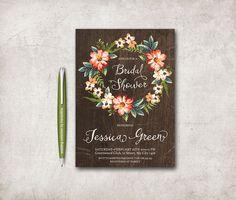 Rustic Bridal Shower Invitation Printable, Floral Birthday Invite, Digital File - Floral Bridal Shower, Fall Bridal Shower - pinned by pin4etsy.com