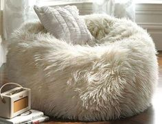 Modern interior design with handmade leather and fur accessories or items created with faux fur fabrics looks warm, cozy and luxurious Bean Bag Couch, Faux Fur Bean Bag, Faux Fur Bedding, Fur Decor, Cute Furniture, Fur Accessories, Modern Interior Design, Decoration, Floor Pillows