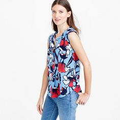 LOVE this bold and colorful patterned blouse J.Crew - Petite sleeveless drapey silk popover in deco floral