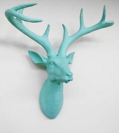 Seafoam Deer Head, Faux Taxidermied, Stag Head, Faux Deer Head, Fake Deer Head,