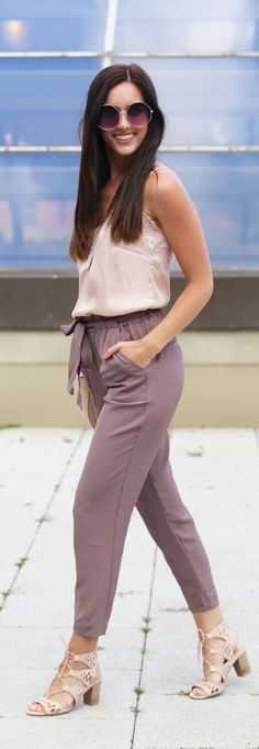 Best way to transition your summer pinks into the fall! These work-ready trousers are so figure flattering and wrinkle-free! And they are less than $40 (and the lace up sandals are on sale for $30!)