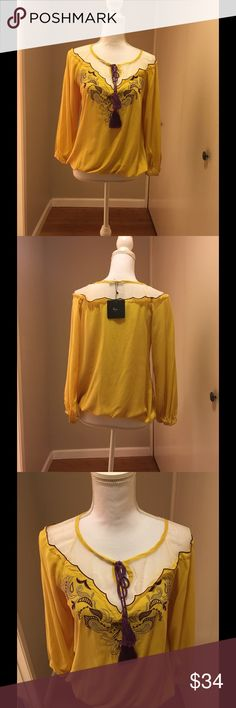 """New chic top for fall by Ryu boutique Stunning casual to,long sleeves great for morning or night, 18"""" from armpit to armpit,elastic hem and wrist,25"""" in length, new with tag Tops Blouses"""
