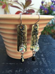 Vintage Perfume Tin dangle earrings, sterling silver bead caps, vintage crystals. Darling vintage look.  Tilliegirlstudio