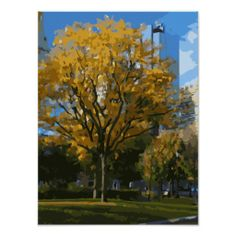 Blooming Oak Tree within a Boston city Park Poster, a beautiful painting of Boston, perfect gift for a loved one! Click on the photo for purchase details.