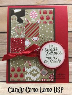Just Sponge It: Stampin' Up! Only Challenge, Holiday Papers, Holiday Papers, Candy Cane Lane Designer Series Paper, Suite Seasons Stamp Set, Layering Circles, Red Glimmer Paper, Christmas, DIY, Stampin' Up!