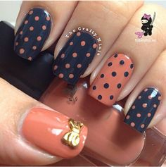 Navy Blue Orange Polka dots gold bow