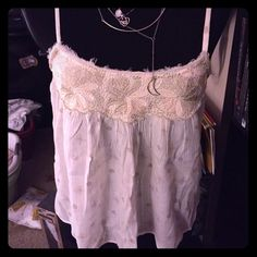 XXS White & Cream AE embroidered tank - NWT Super unique tank with embroidered top and patterns every where else. Absolutely adorable  as a single piece or layering piece. Definitely one of my favorites!! American Eagle Outfitters Tops Tank Tops