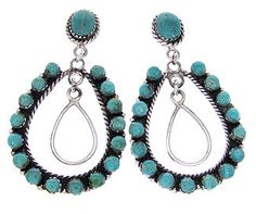 Turquoise Jewelry Genuine Sterling Silver Dangle Earrings BS59329