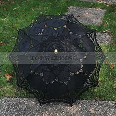 Black Embroidered Cotton Wedding Umbrella