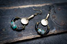 ethnic earrings • bohemian • indonesian beads • african black vinyl • green glass • hoop • tribal • nomad • long earrings by entre2et7 on Etsy https://www.etsy.com/listing/217146403/ethnic-earrings-bohemian-indonesian