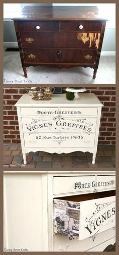 Gorgeous dresser painted with Annie Sloan chalk paint. The French Winemaker graphic was hand painted using an easy technique. Refurbished Furniture, Paint Furniture, Repurposed Furniture, Shabby Chic Furniture, Shabby Chic Decor, Furniture Projects, Furniture Makeover, Diy Projects, Shabby Chic Dressers
