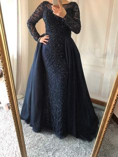 Luxury Arabic Evening Gowns with overskirt colors) - Nirvanafourteen Hijab Evening Dress, Hijab Dress Party, Hijab Style Dress, Beaded Evening Gowns, Mermaid Evening Dresses, Bridal Dresses, Prom Dresses, Fashion Dresses, Dress Outfits