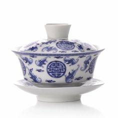 Amazon.com: Wu Fu Lin Men Pattern Blue and White Porcelain Tea Gaiwan Cup: Kitchen & Dining